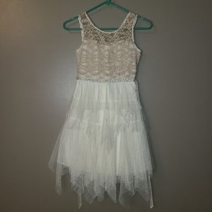 2/$30🔥 Rare Editions Sheer Lace Tulle Gems Dress